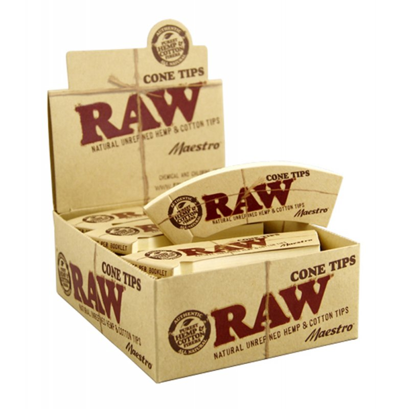 Raw Tips Cone Maestro Conical Unbleached Filter Tips Wide