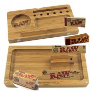 RAW Rolling Tray Bambus Flip Geschenkbox RAW Papers Tips...