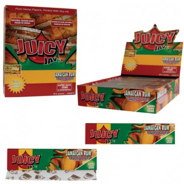 1 Box (24x) Juicy Jays King Size flavoured Papers Jamaican Rum