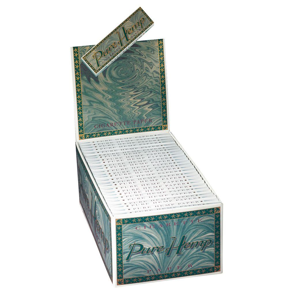 1 Box 50x Pure Hemp Single Wide Papers Blättchen regular kurz Tree Free