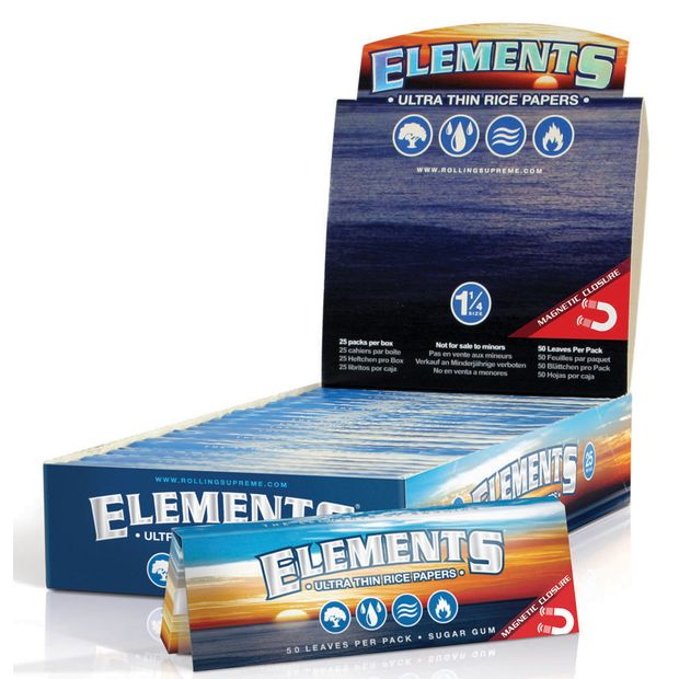 Elements 1 1/4 Medium Size Zigarettenpapier Reis Papers Ultra Dünn