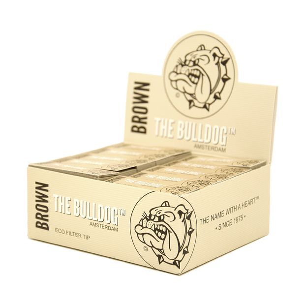 The Bulldog natural filter tips Brown slim unbleached Eco perforated