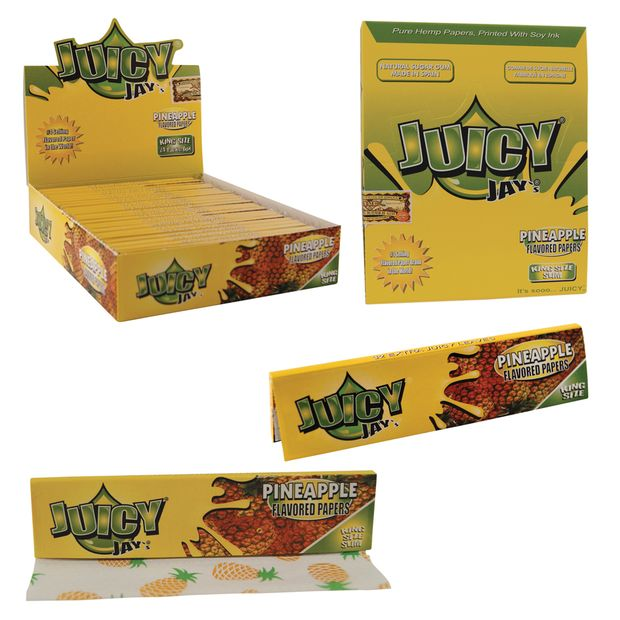 1 Box (24x) Juicy Jays King Size flavoured Papers Pineapple