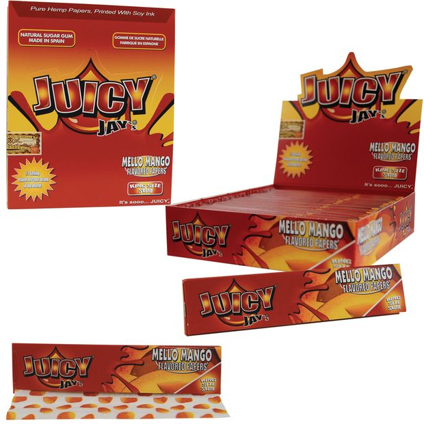 1 Box (24x) Juicy Jays King Size flavoured Papers Mello Mango