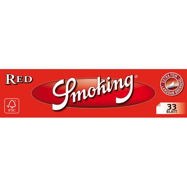 Smoking Red Reis King Size Papers Blättchen Rice Rot 20...