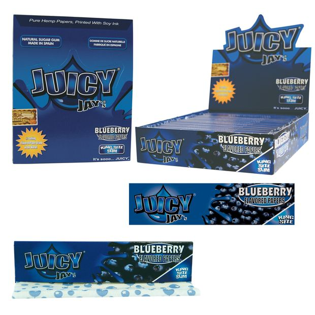 1 Box (24x) Juicy Jays King Size flavoured Papers Blueberry