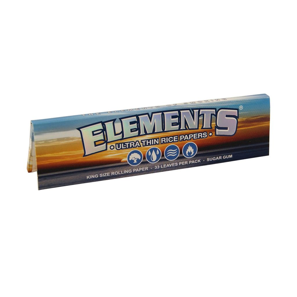 Elements King Size slim Papers Blättchen aus Reis Rolling Papers 1 Box 50x