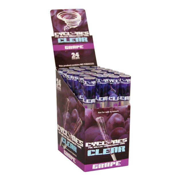 1 Box Cyclones CLEAR Grape Cones transparent pre-rolled