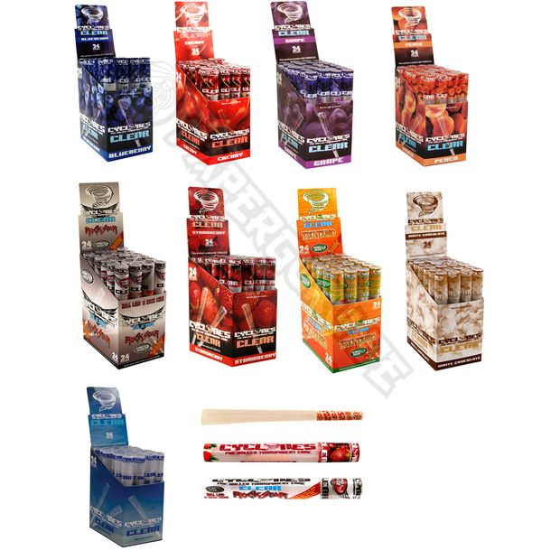5 Boxes Cyclones CLEAR Cones Free Choice of Flavours transparent pre-rolled