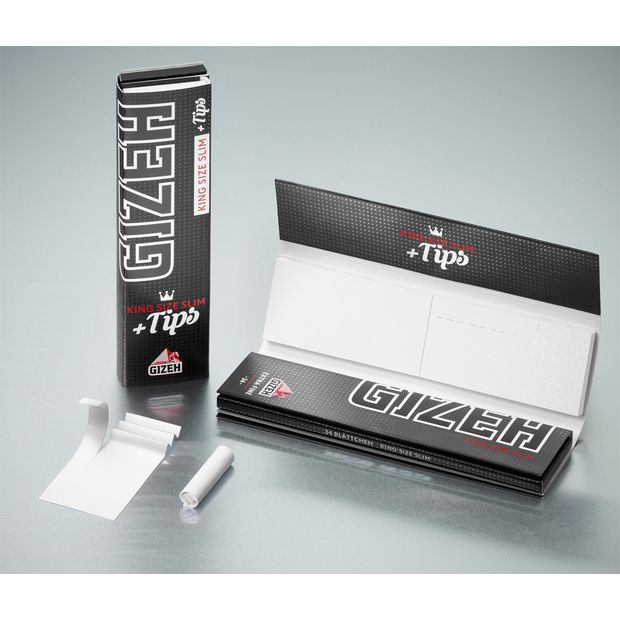 Gizeh Black Papers + Tips King Size Slim Extra Fine 6...