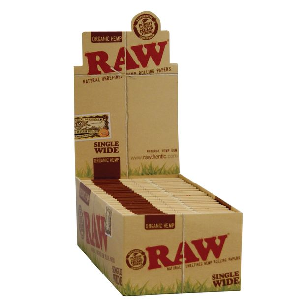 RAW Organic Single Wide regular Papers Hemp 1 box (50x...
