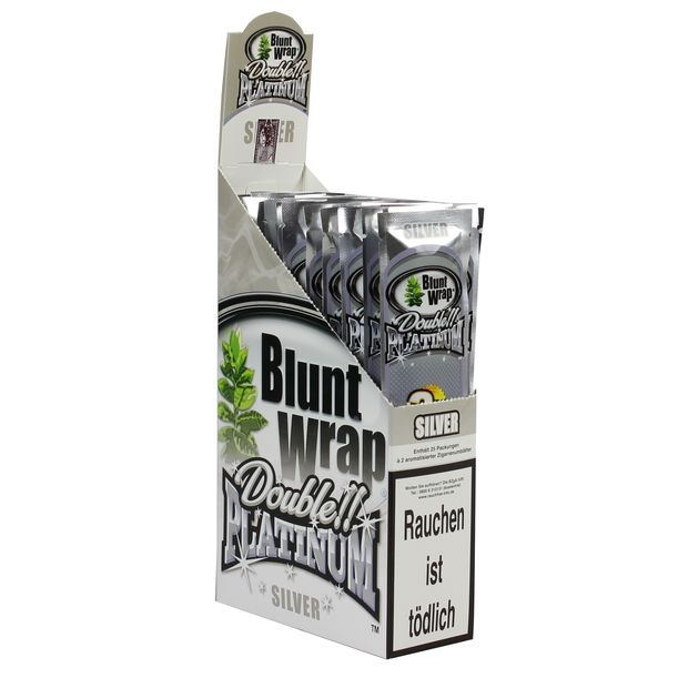 1 Box Blunt Wrap Double Silver 50 Blunts