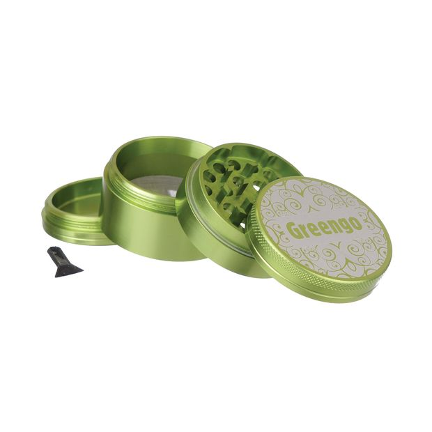 Greengo Grinder 4 Parts 50mm Metal Grinder with Sifter green