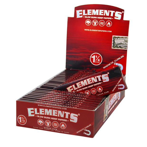 Elements Red 1 1/4 Medium Size Hemp Papers