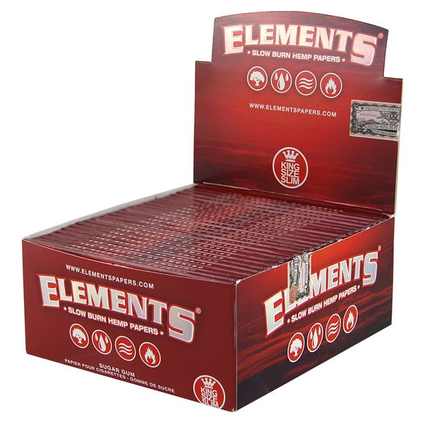 Elements Red King Size Slim Papers from Hemp