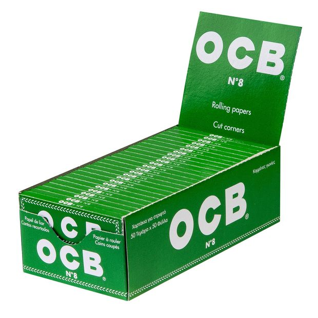 OCB Green N°8 Regular short Cigarette Papers with Cut...