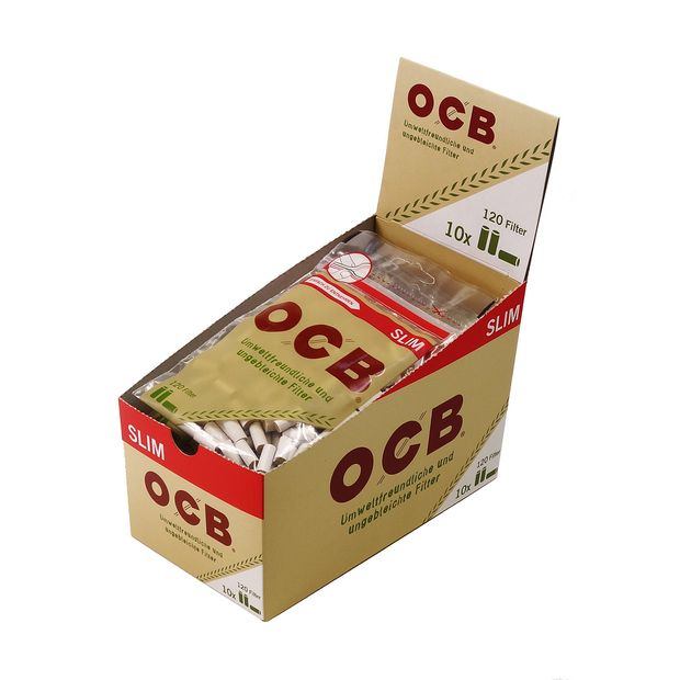 OCB Slim Filters unbleached cellulose cigarette filters...