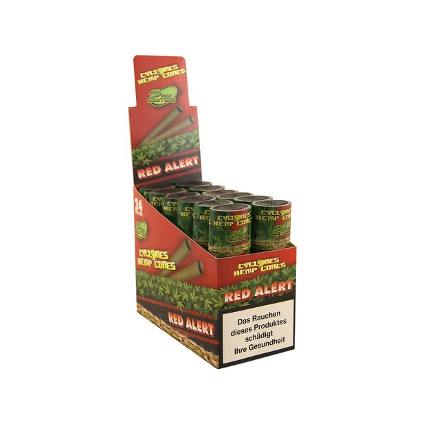 1 Box Cyclones Hemp Cones RED ALERT pre-rolled flavoured