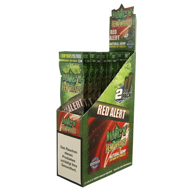 1 Box Juicy Jay Hemp Wraps RED ALERT aus Hanf ohne Tabak