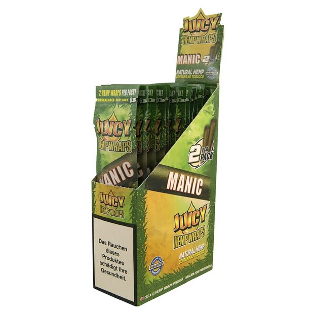 1 Box Juicy Jay Hemp Wraps MANIC no Tobacco