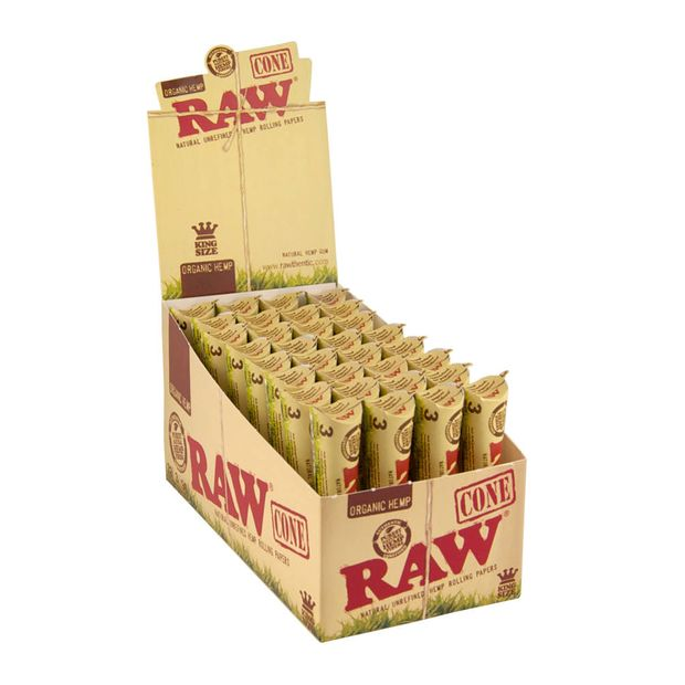 RAW Organic Cones King Size pre-rolled Cones made of Organic Hemp