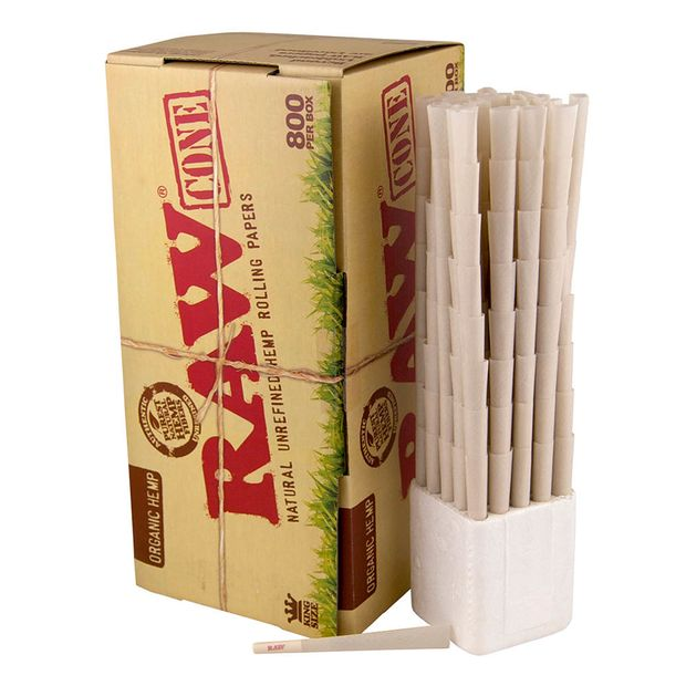 RAW Organic Cones Box of 800 Pre-rolled Made of Organic Hemp
