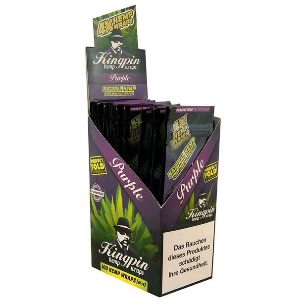 1 Box Kingpin Hemp Wraps PURPLE aromatisiert aus Hanf
