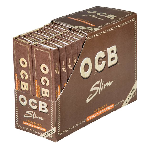 OCB Virgin King Size Papers+Tips Slim unbleached