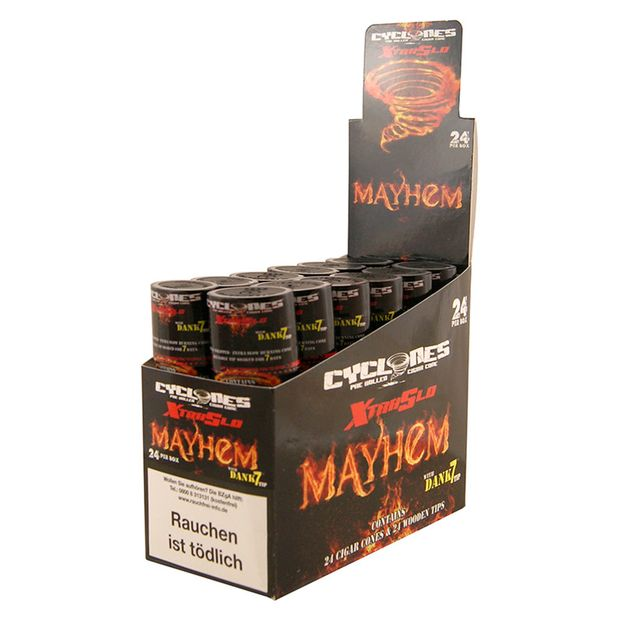 1 Box Cyclones XtraSlo MAYHEM Cones flavoured wooden Tip