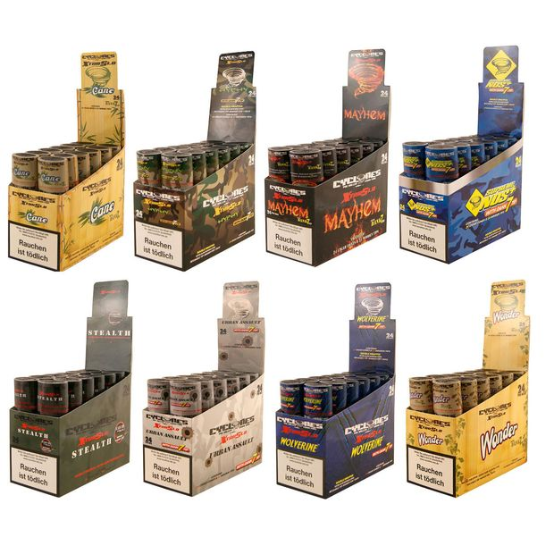 8 Boxes Cyclones XtraSlo Cones with wooden Tip 8 Flavours...