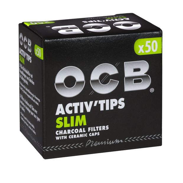 OCB ActivTips SLIM Charcoal filters with ceramic caps