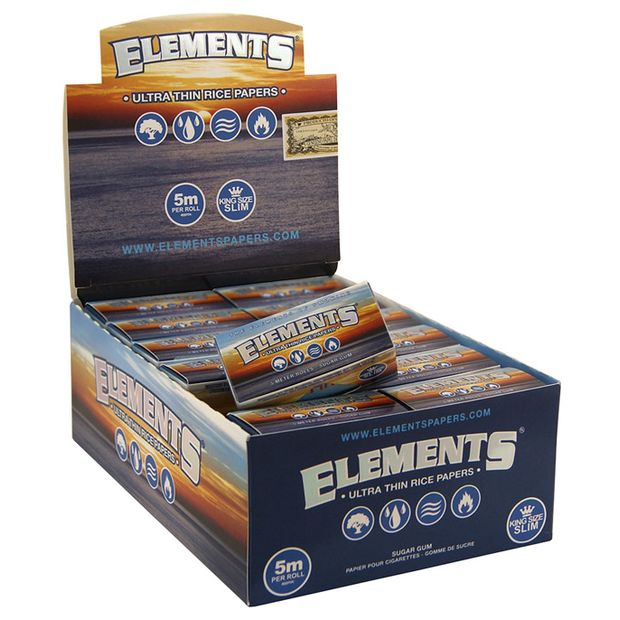 Elements Ultra Thin Rolls made of Rice, King Size Slim...