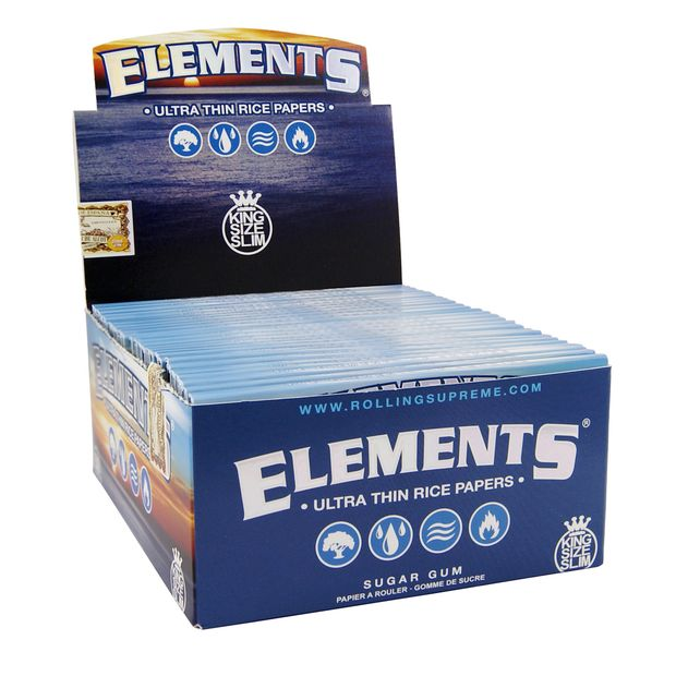 Elements King Size slim Papers Blättchen aus Reis Rolling Paper NEU! 3 Boxen (150 Booklets)