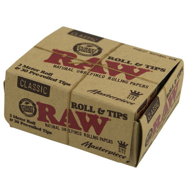 RAW Masterpiece Classic Rolls & Tips, 3 Meter King Size Rolls + 30 vorgerollte Tips