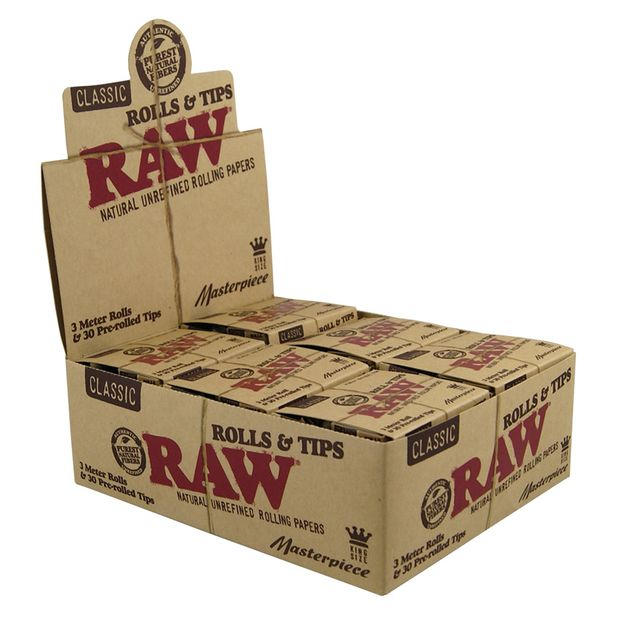 RAW Masterpiece Classic Rolls & Tips, 3 meters King Size...