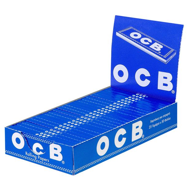 OCB Blue Rolling Papers, 50 regular papers per booklet, cut corners