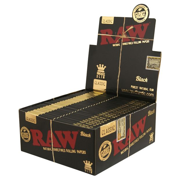 RAW Black Classic, Kingsize Slim Papers, 32 super-thin leaves per booklet 5 boxes (250 booklets)