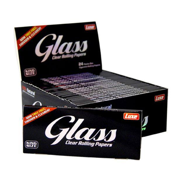 Glass Clear Rolling Papers, King Size Slim Blättchen aus Zellulose, transparent
