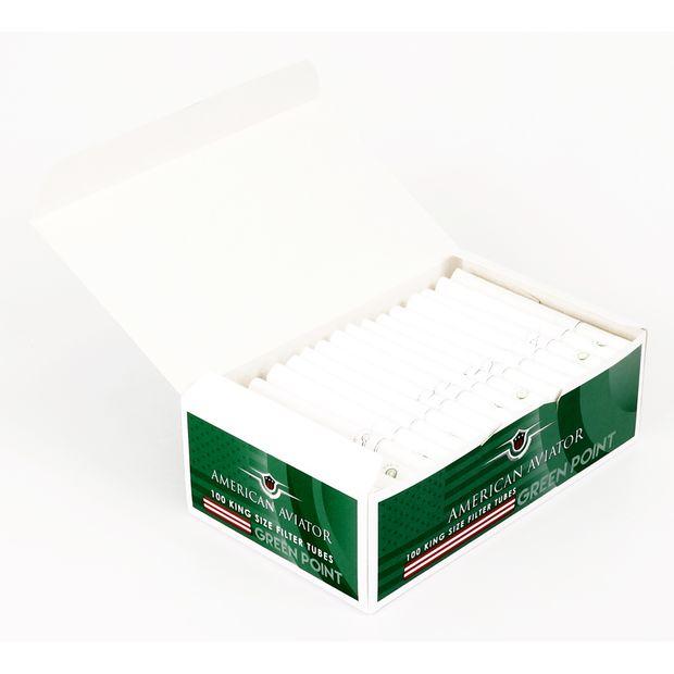 100 pro Box 10 Boxen American Aviator King Size Filterhülsen Green Point Klick-Hülsen mit Menthol-Kapsel 1000 Hülsen