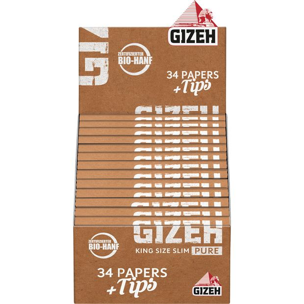 GIZEH Pure King Size Slim Papers+Tips, zertifizerter...