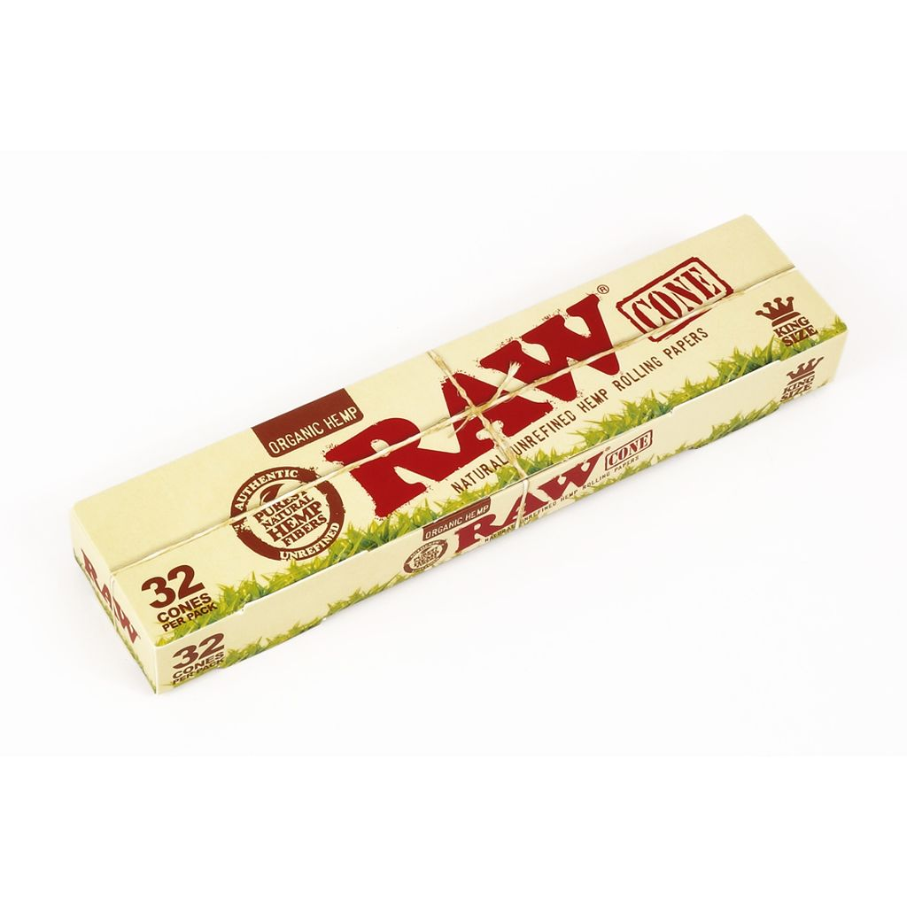 RAW King-Size Organic Hemp Pre-Rolled Cones Rolling Papers Box 32 Packs 96 Cones