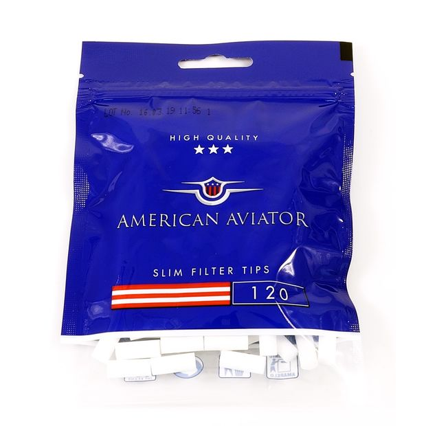 American Aviator Slim Filter Tips, 6 mm Diameter, 120 Filters per Bag