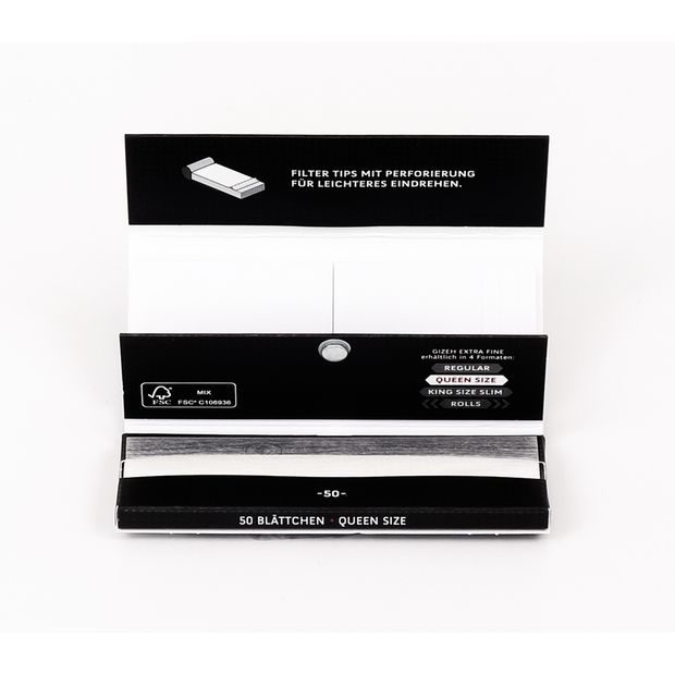 GIZEH Black Queen Size Papers + Tips, 50 thin 1 ¼ Papers and perforated Tips per Booklet
