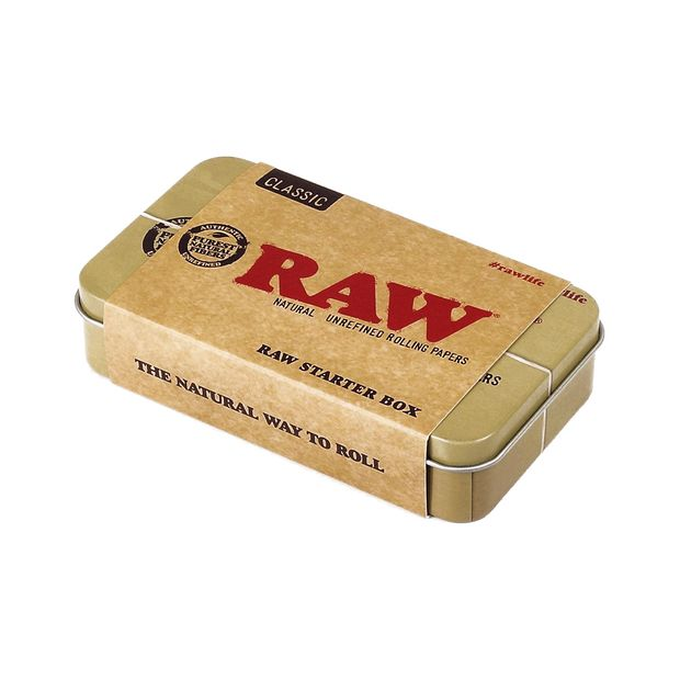 RAW Starter Box, 3x Papers + 3x Tips + 1x Hemp Wick in a stylish RAW Metal Box