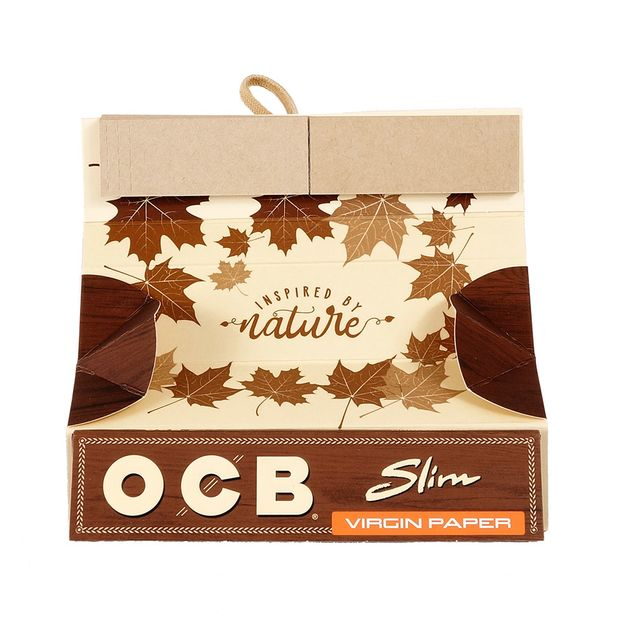 OCB Slim Roll Kit Virgin Paper, 32 King Size Slim Blättchen + 32 Tips + 1 Rolling Tray 10 Heftchen