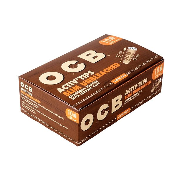 OCB Virgin ActivTips Slim, unbleached Charcoal Filters with Ceramic Caps