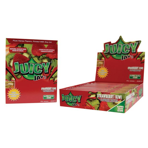 1 Box (24x) Juicy Jays King Size Papers Strawberry Kiwi...