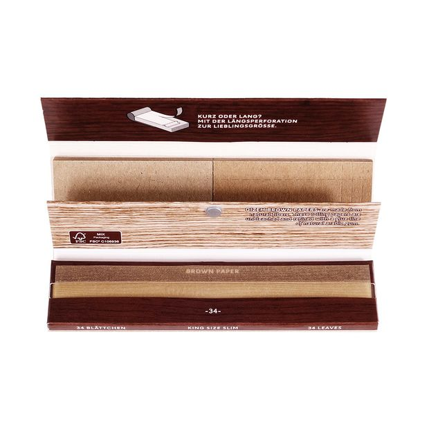 GIZEH Brown Paper King Size Slim + Tips, extra-fein, ungebleicht, 34 Papers+Tips pro Heftchen