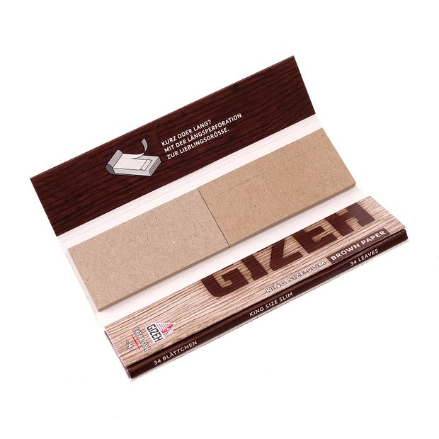 GIZEH Brown Paper King Size Slim + Tips, extra-fein, ungebleicht, 34 Papers+Tips pro Heftchen 2 Boxen (52 Heftchen)