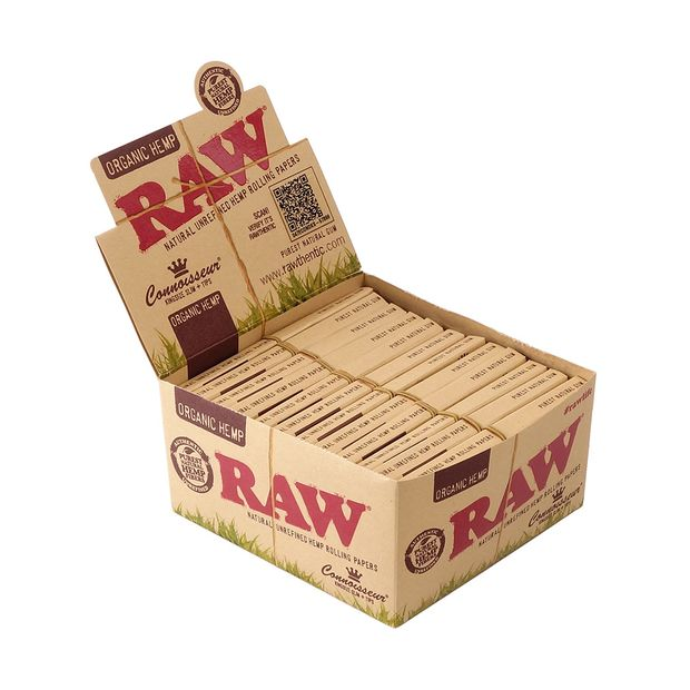 RAW Connoisseur Kingsize Slim + Tips, Organic Hemp, 32...